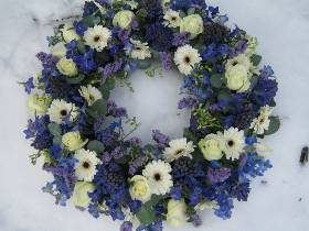 Large Blue & White Wreath