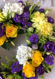 Purple Yellow & White Wreath