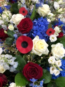 Red,white and blue coffin spray